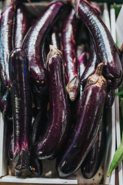 bunch of eggplants